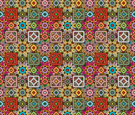 zen doodle ethnic pattern in nature colors fabric by nadia_to_art on Spoonflower - custom fabric