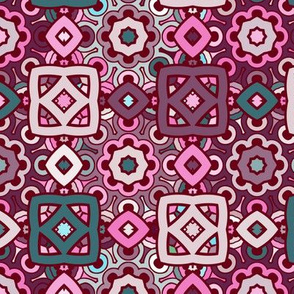 boho ethnic pattern in pink and turquoise colors