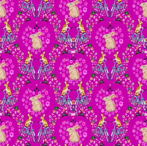 Life's a Journey, Bunny fabric by lkm3s on Spoonflower - custom fabric