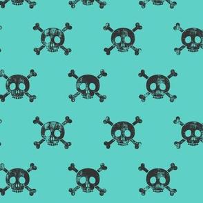 skull and bones (grey on teal)