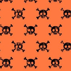 skull and bones (black on orange)