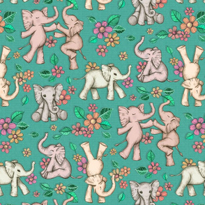 Playful Baby Elephants - green, large version