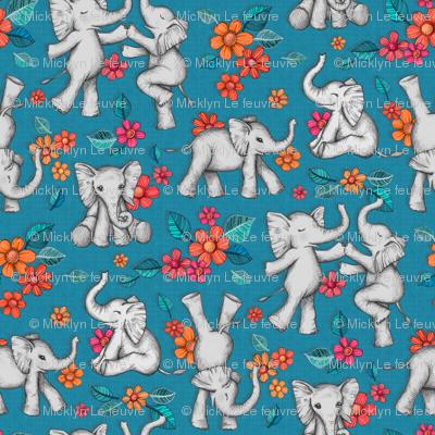 Playful Baby Elephants - blue, small version
