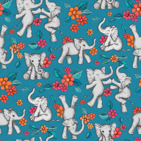Playful Baby Elephants - blue, small version fabric by micklyn on Spoonflower - custom fabric