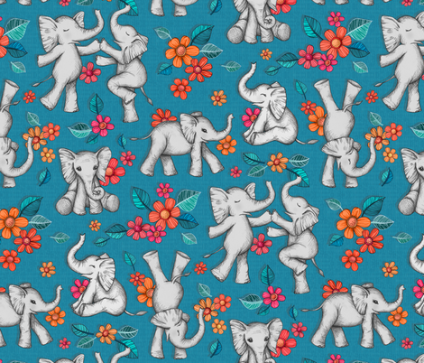 Playful Baby Elephants - blue, large version fabric by micklyn on Spoonflower - custom fabric
