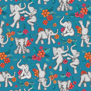 Playful Baby Elephants - blue, large version