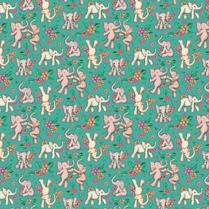 Playful Baby Elephants - green, small version
