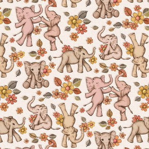 Playful Baby Elephants - retro neutrals, large version