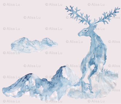 The deer in the mountains, painted in Chinese style with ink and brush. Blue watercolor on a pastel pink background.