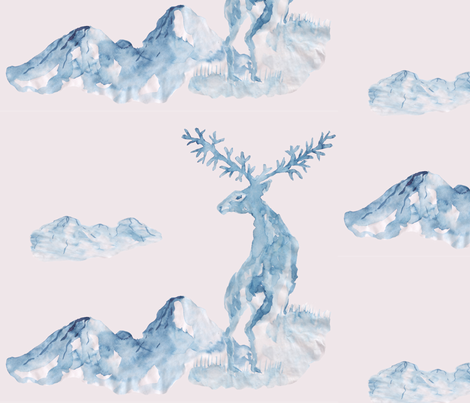 The deer in the mountains, painted in Chinese style with ink and brush. Blue watercolor on a pastel pink background. fabric by ethnic_design on Spoonflower - custom fabric