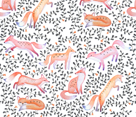 foxes through the forest fabric by analinea on Spoonflower - custom fabric