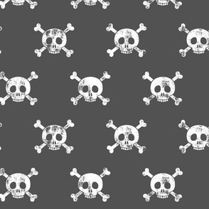 skull and bones (white on dark grey)