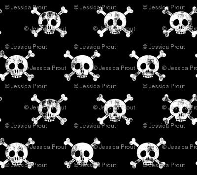 skull and bones (white on black)