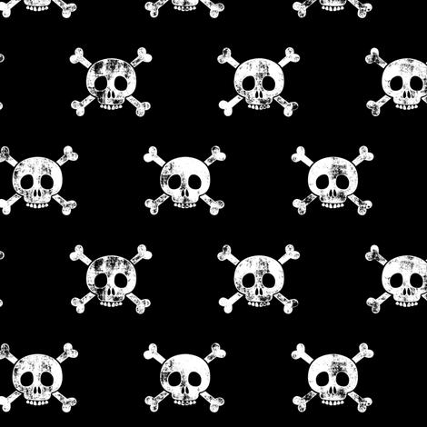 skull and bones (white on black) fabric by littlearrowdesign on Spoonflower - custom fabric