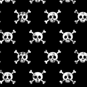 skull and bones (white on black)