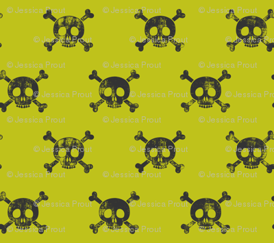 skull and bones (grey on lime)