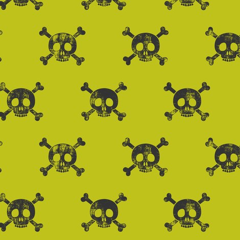 skull and bones (grey on lime) fabric by littlearrowdesign on Spoonflower - custom fabric