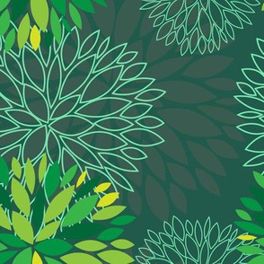 Green Spring Flowers Pattern - Abstract Peonies On Teal Blue Background