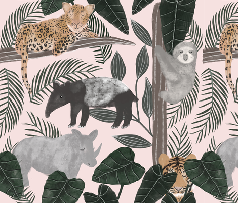 Jungle animals fabric by chloepow on Spoonflower - custom fabric