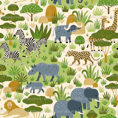 Safari wild animals in Africa savannah