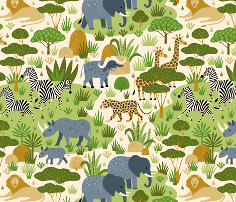 Safari wild animals in Africa savannah fabric by heleen_vd_thillart on Spoonflower - custom fabric