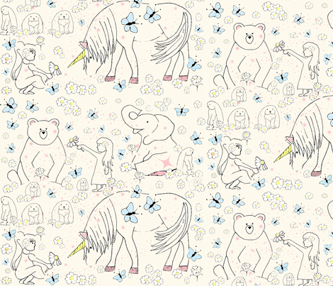 Flower Girl with color:  Animals By Land fabric by a_b_holland on Spoonflower - custom fabric