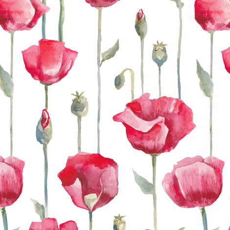 Poppies field fabric by katyau on Spoonflower - custom fabric