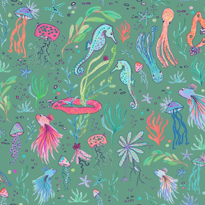 ocean animals green