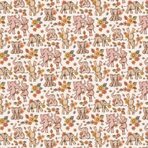 Playful Baby Elephants - retro neutrals, small version