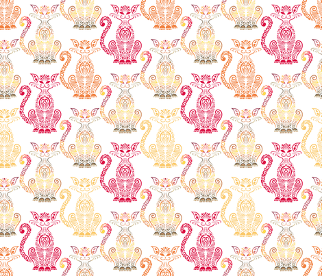 Multi Tribal Cat on White fabric by artsytoocreations on Spoonflower - custom fabric