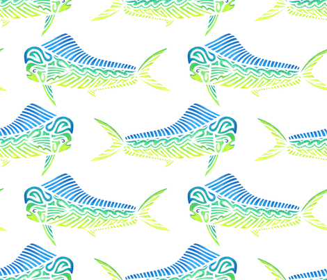 Mahi Mahi on White fabric by artsytoocreations on Spoonflower - custom fabric