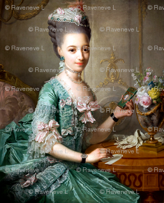 Marie Antoinette inspired green gown lace ballgowns pink white bows  floral flowers vases baroque rococo Victorian  portraits historical hair pouf 18th century Bouffant diamond necklace choker neoclassical beautiful woman lady beauty elegant gothic lolita