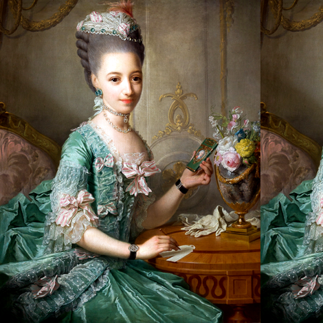 Marie Antoinette inspired green gown lace ballgowns pink white bows  floral flowers vases baroque rococo Victorian  portraits historical hair pouf 18th century Bouffant diamond necklace choker neoclassical beautiful woman lady beauty elegant gothic lolita fabric by raveneve on Spoonflower - custom fabric