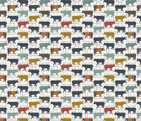 Cow Grid - Small - H White fabric by fernlesliestudio on Spoonflower - custom fabric