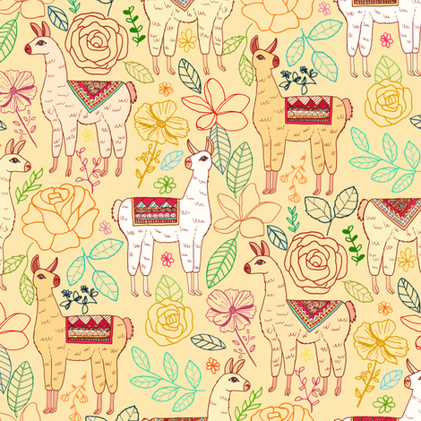 Mexican Llamas With Plants On farrow Cream fabric by tigatiga on Spoonflower - custom fabric