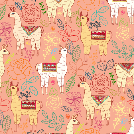Mexican Llamas With Plants On Tucson Coral fabric by tigatiga on Spoonflower - custom fabric
