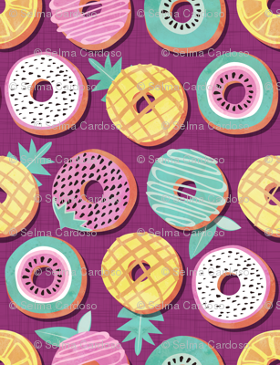 Undercover donuts // disoriented version // pink purple background pastel colors fruit donuts
