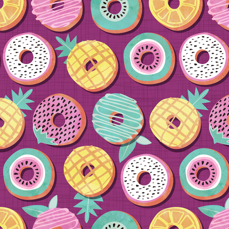 Undercover donuts // disoriented version // pink purple background pastel colors fruit donuts fabric by selmacardoso on Spoonflower - custom fabric