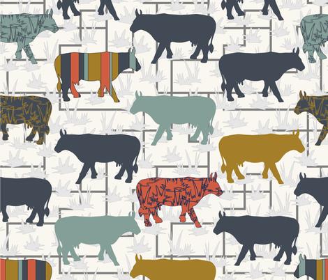 Cow Grid - H White fabric by fernlesliestudio on Spoonflower - custom fabric