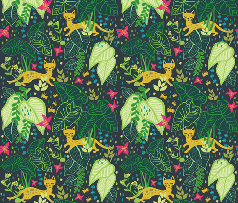 Little Cats in a Big Jungle fabric by jacquelinehurd on Spoonflower - custom fabric