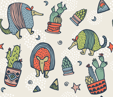 Armadillos & Cactus fabric by thedoodlingdesigner on Spoonflower - custom fabric