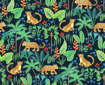 Hand Painted Tiger Jungle