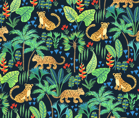 Hand Painted Tiger Jungle fabric by jill_o_connor on Spoonflower - custom fabric