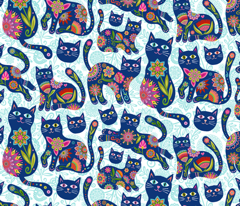 KitCats in Blue fabric by groovity on Spoonflower - custom fabric
