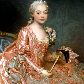 Marie Antoinette inspired princesses peach pink orange gowns flowers floral roses lace baroque victorian masks masquerade damask wallpaper ballgowns rococo portraits beautiful lady woman beauty elegant gothic lolita egl 18th century neoclassical  historic