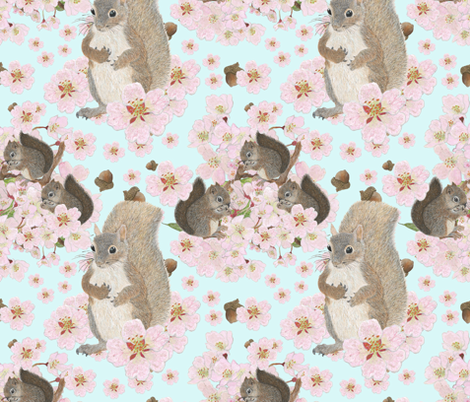 Squirrels Among the Cherry Blossoms fabric by iadesigns on Spoonflower - custom fabric