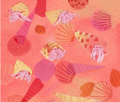 Hermit Crabs By Sand fabric by samantha_sunshine on Spoonflower - custom fabric