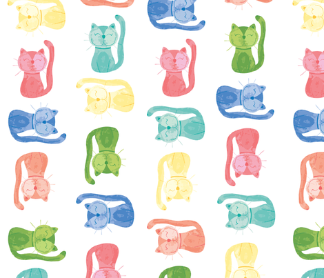AU_colorfulkitty_pattern fabric by alexis_johnson on Spoonflower - custom fabric