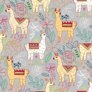 Mexican Llamas With Plants On Pewter Grey