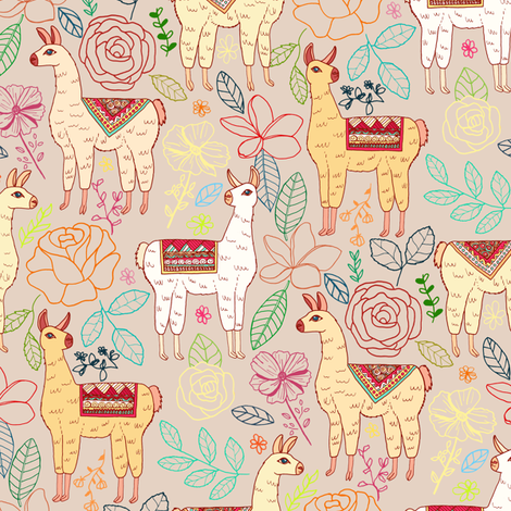 Mexican Llamas With Plants On Beige fabric by tigatiga on Spoonflower - custom fabric